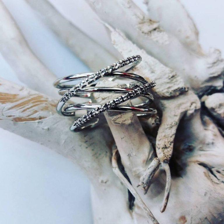 anello fasce sottili oro bianco